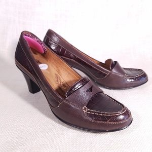 Sofft Brown Croc Print Leather Penny Loafer Heels